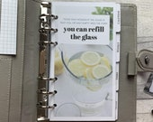 Mindset - Glass Half Full - Lemon Water Dashboard - Fits A5, B6, Personal Wide, Personal, A6, Pocket, Mini Ring Planners. Protective Cover.