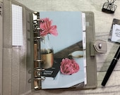 Personal Size Planner Dashboard - Protective Cover for your Ring Planner Inserts - Peonies, Books and Coffee