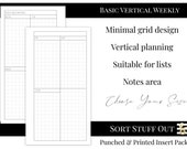 Basic Vertical Weekly WO2P Minimal Grid Printed Insert - A5, B6, Personal Wide, Personal, A6, Pocket Ring Planners - Functional Planning