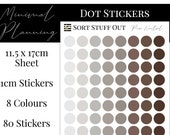 Pure Neutrals Planner Dot Stickers - Colour Code your Planning. Minimal Planner Deco for All Planners. 80 Stickers on One Sheet