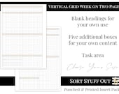 Vertical Grid with Tasks and 5 Boxes  - WO2P - Printed Inserts - Grid Design - Choose Your Colour & Size - Filofax, LV, Kikki K Planners
