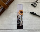 Photo Page Marker - Typewriter and Sunflower - Choose A5, B6, Personal Wide, Personal, A6, Pocket, Mini - Add Custom Text - Planner Bookmark