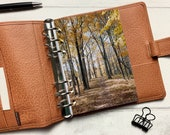 Autumn Golden Leaf Path Dashboard - Fits A5, B6, Personal Wide, Personal, A6, Pocket, Mini Ring Planners. Protective Cover.