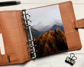Autumn Mountain Trees Dashboard - Fits A5, B6, Personal Wide, Personal, A6, Pocket, Mini Ring Planners. Protective Cover.