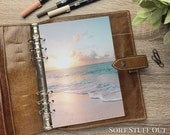 A5 Planner Dashboard - Protective Cover for Ring Planner Inserts - Beach Sunset - Summer Holiday