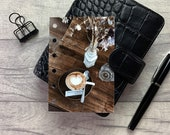 Pocket Size Planner Dashboard - Protective Cover for your Ring Planner Inserts - Latte Art - Coffee - Stay Wild & Keep Smiling