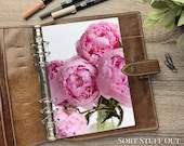 Bright Pink Peonies - Close Up - Fits A5, B6, Personal Wide, Personal, A6, Pocket, Mini Ring Planners. Protective Cover.
