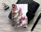 Pocket Size Planner Dashboard - Protective Cover for Ring Planner Inserts - Magnolia Bud - Pink Floral