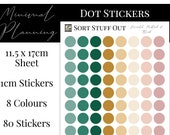 Emerald, Mustard and Blush Dot Stickers - Colour Code your Planning. Minimal Planner Deco for All Planners. 80 Stickers on One Sheet