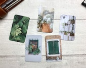 Journal Cards - Summer Green Set - 5 Pack for Planner Deco - Use as Bookmarks, Decoration - Clip and Card Holder Options