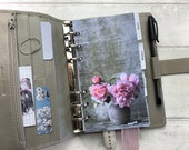 Personal Size Planner Dashboard - Protective Cover for your Ring Planner Inserts - Vase of Peonies