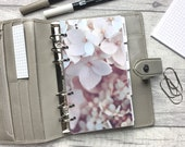 Personal Size Planner Dashboard - Protective Cover for your Ring Planner Inserts - Close Up Pale Pink Hydrangea - Floral