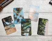 Journal Cards - Palm Trees Set - 5 Pack for Planner Deco - Use as Bookmarks, Decoration - Clip and Card Holder Options
