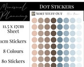 Blue Brown Planner Dot Stickers - Colour Code your Planning. Minimal Planner Deco for All Planners. 80 Stickers on One Sheet