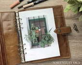 A5 Planner Dashboard - Protective Cover for Ring Planner Inserts - Green Window and Pot Plants - Foliage