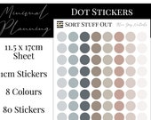 Blue Grey Neutrals Planner Dot Stickers - Colour Code your Planning. Minimal Planner Deco for All Planners. 80 Stickers on One Sheet