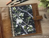 A5 Planner Dashboard - Protective Cover for Ring Planner Inserts - White Blossom