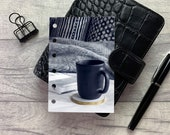Pocket Size Planner Dashboard - Protective Cover for your Ring Planner Inserts - Black Mug and Blanket - Reading - Book