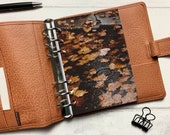 Autumn Leaf Puddle Dashboard - Fits A5, B6, Personal Wide, Personal, A6, Pocket, Mini Ring Planners. Protective Cover.