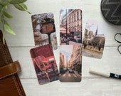 Journal Cards - Warm Tone Paris Set - 5 Pack for Planner Deco - Use as Bookmarks, Decoration - Clip and Card Holder Options