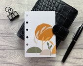 Pocket Size Planner Dashboard - Protective Cover for your Ring Planner Inserts - Burnt Orange Abstract Leaves