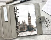 Personal Size Planner Dashboard - Protective Cover for your Ring Planner Inserts - London - Big Ben