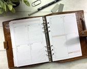 PRINTED - Weekly Planner Insert for A5 Size Rings. Blush Accent Minimal WO2P. Grid Layout. Vertical Weekly Planning.