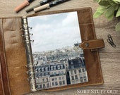 A5 Planner Dashboard - Protective Cover for Ring Planner Inserts - Paris Skyline - Apartments