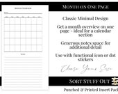 Month Overview - MO1P - Minimal Classic Design - Printed Insert - A5, B6, Personal Wide, Personal, A6, Pocket and Mini Ring Planners