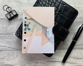 Pocket Size Planner Dashboard - Protective Cover for Ring Planner Inserts - Peach and Green Flatlay - Earrings