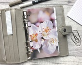 Personal Size Planner Dashboard - Protective Cover for your Ring Planner Inserts - Close-Up Blossom - Pink Floral - Sakura