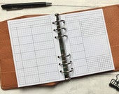 WO2P Extended Day Weekly with Tasks & Habits - Minimal Grid Printed Insert - A5, B6, Personal Wide, Personal, A6 and Pocket Ring Planners