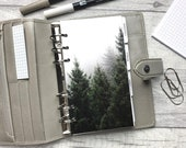 Pine Trees and Fog Dashboard - Fits A5, B6, Personal Wide, Personal, A6, Pocket, Mini Ring Planners. Protective Cover.