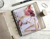 A6 Size Planner Dashboard - Protective Cover for Ring Planner Inserts - Brown, Pink and Cream Luxe