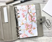 Personal Size Planner Dashboard - Protective Cover for your Ring Planner Inserts - Blossom Twig - Pink Floral
