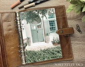 A5 Planner Dashboard - Protective Cover for Ring Planner Inserts - Neutral Green Front Door with Planters - Foliage