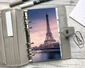 Personal Size Planner Dashboard - Protective Cover for your Ring Planner Inserts - Paris - Seine at Sunset