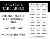 Tabbed Task Card Labels - Add Headings to Your Task Card Tabs - Organise Your Planner - Routines, Habits, Tasks - Clear Matte Finish