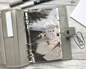 Personal Size Planner Dashboard - Protective Cover for your Ring Planner Inserts - Pine Cones, Mug and Fairy Lights