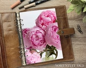 A5 Planner Dashboard - Protective Cover for Ring Planner Inserts - Bright Pink Peonies - Close Up