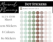 Vintage Mushroom Green Planner Dot Stickers - Colour Code your Planning. Minimal Planner Deco for All Planners. 80 Stickers on One Sheet