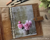 A5 Planner Dashboard - Protective Cover for Ring Planner Inserts - Pink Peonies in Vase - Floral