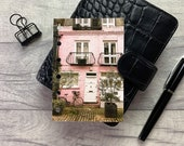 Pocket Size Planner Dashboard - Protective Cover for your Ring Planner Inserts - Pink House with Bike - London