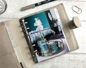 A6 Size Planner Dashboard - Protective Cover for Ring Planner Inserts - Teal and Gold Orchid