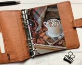 Autumn Hot Chocolate & Blanket Dashboard - Fits A5, B6, Personal Wide, Personal, A6, Pocket, Mini Ring Planners. Protective Cover.