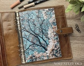A5 Planner Dashboard - Protective Cover for Ring Planner Inserts - Blue Sky & Magnolia - Floral