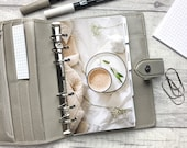 Personal Size Planner Dashboard - Protective Cover for your Ring Planner Inserts - Blanket, Latte and Foliage - Cosy and Neutral Aesthetic