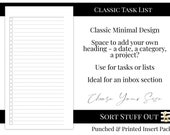 Task List - Minimal Classic Design - Printed Insert - A5, B6, Personal Wide, Personal, A6, Pocket and Mini Ring Planners