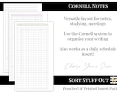 Cornell Notes - Organisation & Productivity - Daily - Minimal Grid Printed Insert - A5, B6, Personal Wide, Personal, A6 and Pocket Planners