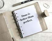 A6 Size Planner Dashboard - Protective Cover for Ring Planner Inserts - Done is Better Than Perfect - Motivational Quote